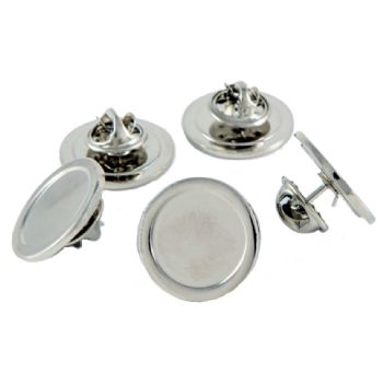 Superior Badge Blank round 16mm silver clutch fitting